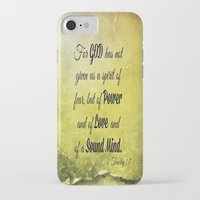scripture iPhone & iPod Cases featuring Scripture 2 Timothy 1:7 by bjcarrigan