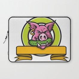 Wild Boar Biting Gherkin Circle Mascot Laptop Sleeve