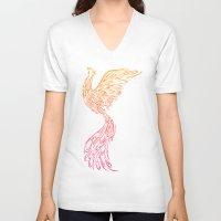 phoenix V-neck T-shirts featuring Phoenix by Freeminds