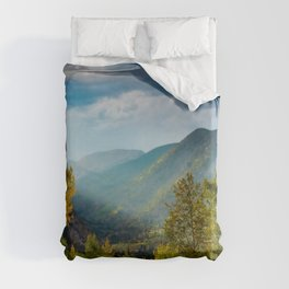 Sunlight Valley // Dense Forest View through the Autumn Colors in Colorado Duvet Cover