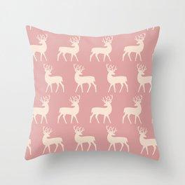 Mid Century Modern Deer Pattern Dusty Rose Throw Pillow