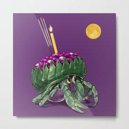 Krathong Crab // Full Moon Hermit Crab Metal Print