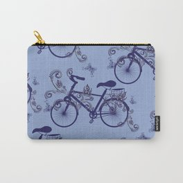 Bicycle and Floral Ornament Carry-All Pouch