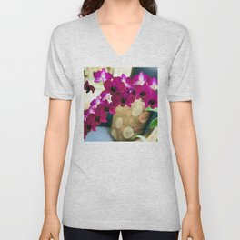 Pink Purple Magenta Orchids In Contemporary Vase Unisex V-Neck