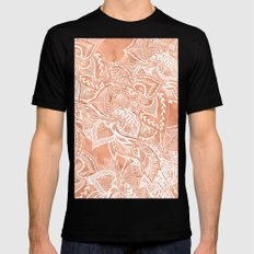 Modern tan copper terracotta watercolor floral white boho hand drawn pattern Mens Fitted Tee Black MEDIUM