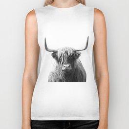 Highland cow | Black and White Photo Biker Tank