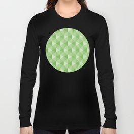 3D Optical Illusion: Green Hexagonal Pyramid Pattern Long Sleeve T-shirt