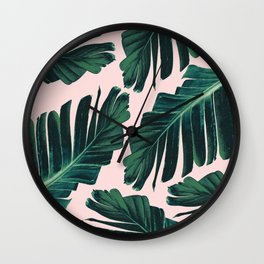 Tropical Blush Banana Leaves Dream #1 #decor #art #society6 Wall Clock
