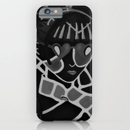 Girl from the Past by Lu, black-and-white iPhone Case