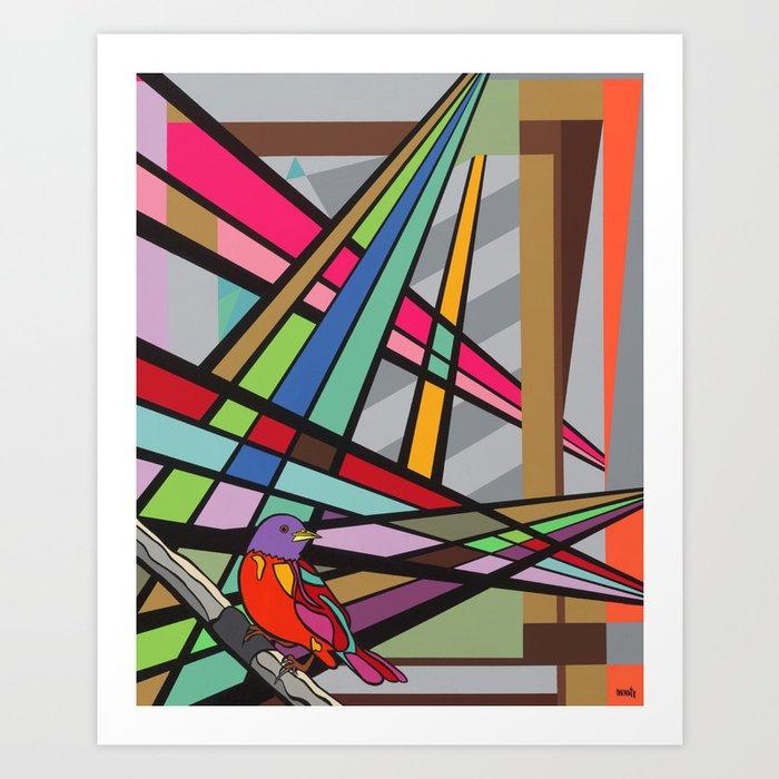 """Nature's Rays"" Montana Gold Spray Paint and Acrylic on Birch Panel 16″ x 20″ x 1.5""  Art Print"
