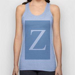 Letter Z sign on placid blue background Unisex Tank Top