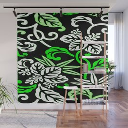 Green Japanese Leaf Pattern Wall Mural