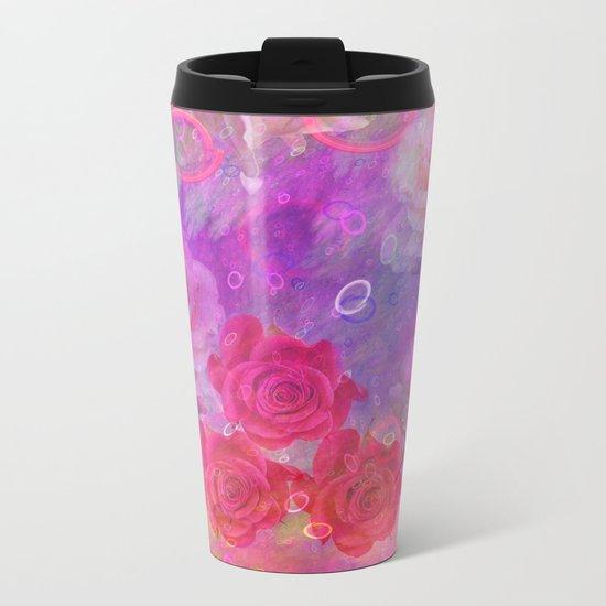 Dream Roses in soft pink, purple and orange Metal Travel Mug