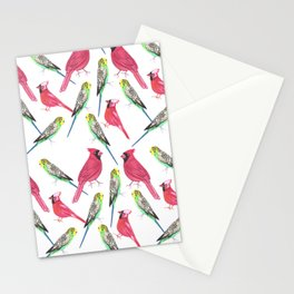 Birds in complementary color scheme- Budgies and cardinals Stationery Cards
