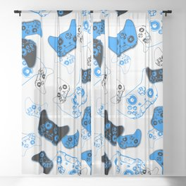 Video Game White and Blue Sheer Curtain