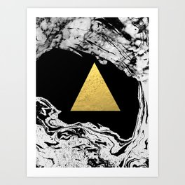 Davina - triangle modern minimal marble black and white foil gold abstract painting trendy bklyn  Art Print