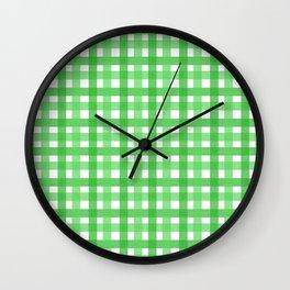 Green Picnic Cloth Pattern Wall Clock