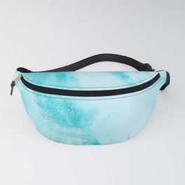 Shimmery Teal Ocean Blue Turquoise Marble Metallic Fanny Pack