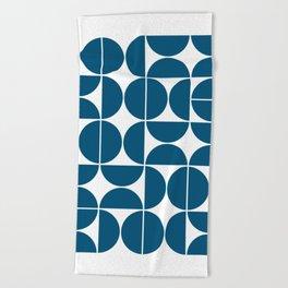 Mid Century Modern Geometric 04 Blue Beach Towel