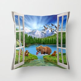 Window to the Great Bear Wilderness Throw Pillow