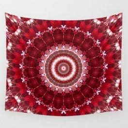 Mandala red Hearts Wall Tapestry