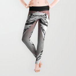 Silver Rose Gold Glitter and Marble Geometric Pattern Leggings