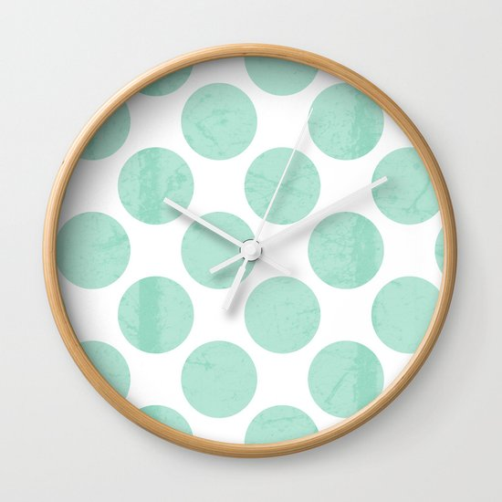 Mint Polka Dot Wall Clock