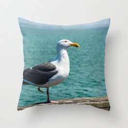 Seagull in Capitola Throw Pillow