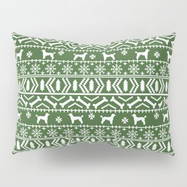 Poodle fair isle christmas dog gifts poodles pet lover dog breed holiday gifts green and white Pillow Sham