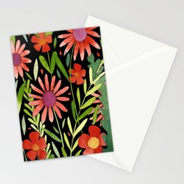 Flower Burst Orange and Black, floral pattern design Stationery Cards