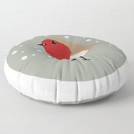 Christmas Robin Floor Pillow