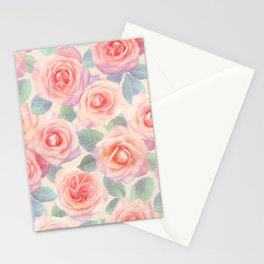 Opal Pink and Peach Painted Roses Stationery Cards