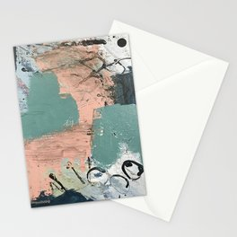 13th and Grant: an abstract mixed media piece in peach green blue and white Stationery Cards