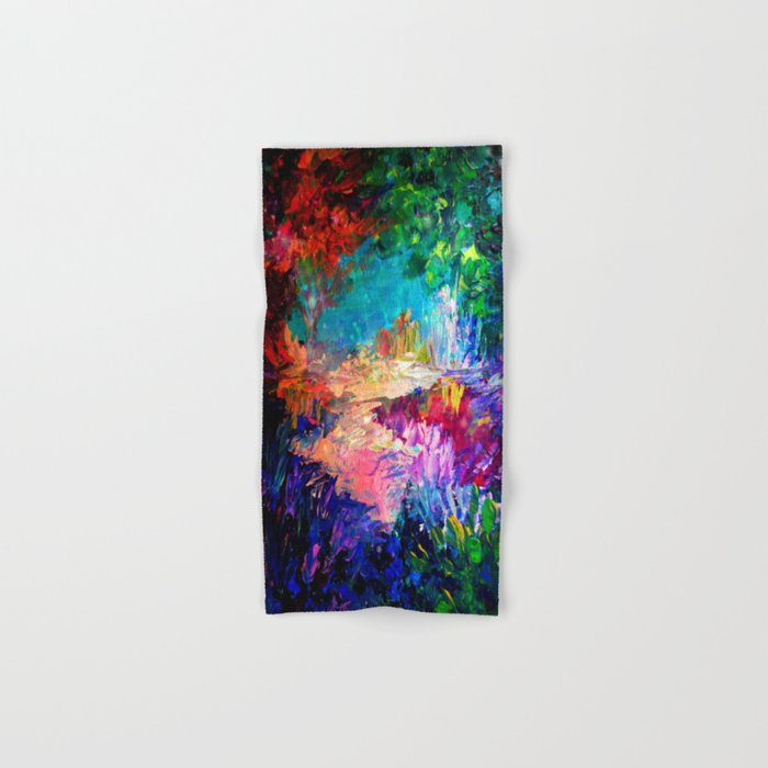 WELCOME TO UTOPIA Bold Rainbow Multicolor Abstract Painting Forest Nature Whimsical Fantasy Fine Art Hand & Bath Towel