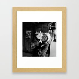 The Lady and her Cat. Framed Art Print