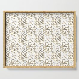 Gold Monstera on White Serving Tray