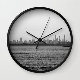 Across the Sea, black and white #2 Wall Clock