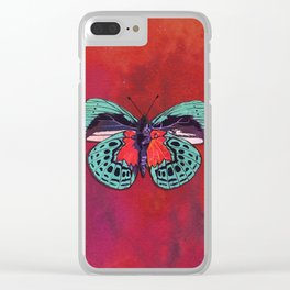 Watercolor Butterfly #1 - Crimson Red, Aqua Blue, Purple Clear iPhone Case