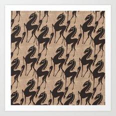 Burlap horses Art Print