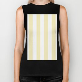 Vertical Stripes - White and Blond Yellow Biker Tank