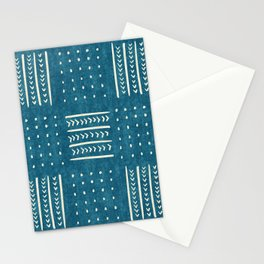 Mud Cloth Patchwork in Teal Stationery Cards