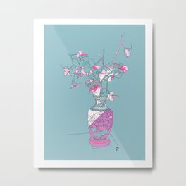 Orchids in a Chinese vase teal abstract line drawing  Metal Print