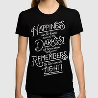 Happiness can be found Black LARGE Womens Fitted Tee