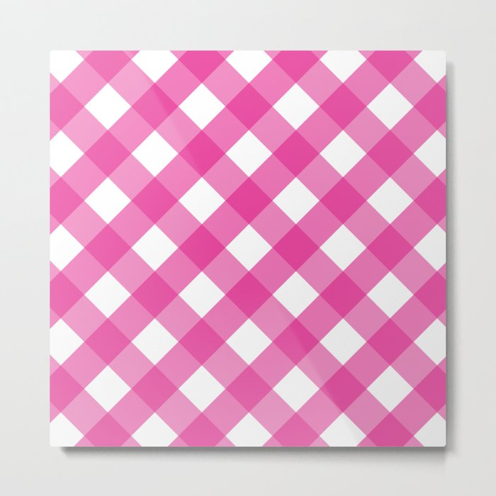 Pink & White Checkered Pattern-Mix and Match with Simplicity of Life on #Society6 Metal Print