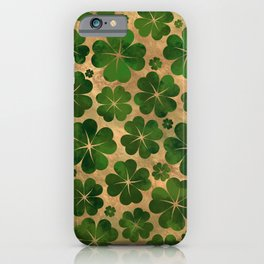 Lucky Shamrock Four-leaf Clover Pattern Watercolor iPhone Case