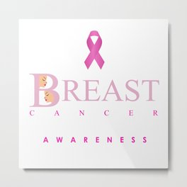 Breast cancer awareness support with text and pink ribbon Metal Print