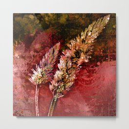 Abstract Red Floral Sprays Metal Print