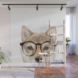 Shiba inu with glasses Dog illustration original painting print Wall Mural