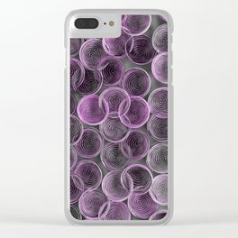 Black, white and purple spiraled coils Clear iPhone Case