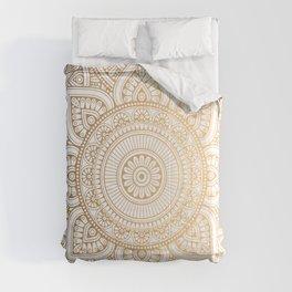 Gold Mandala Pattern Illustration With White Shimmer Comforters